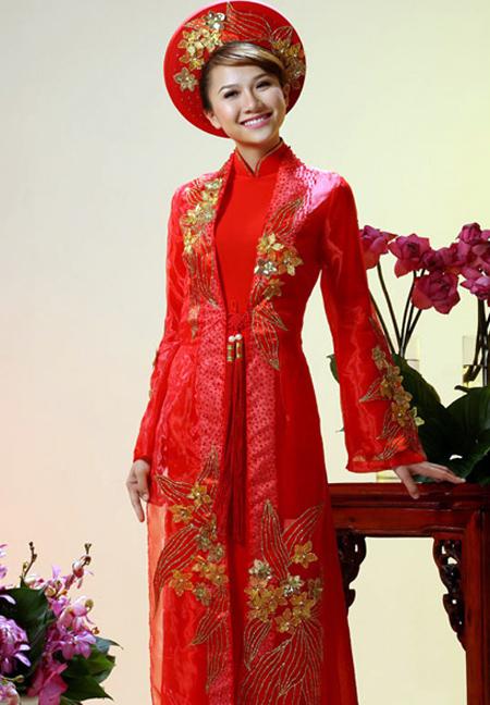 Wedding Ao Dai :: Red :: Red Wedding Ao Dai WR230 - Ao Dai Vinh
