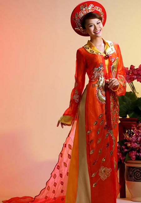Wedding Ao Dai :: Red :: Red Wedding Ao Dai WR231 - Ao Dai Vinh
