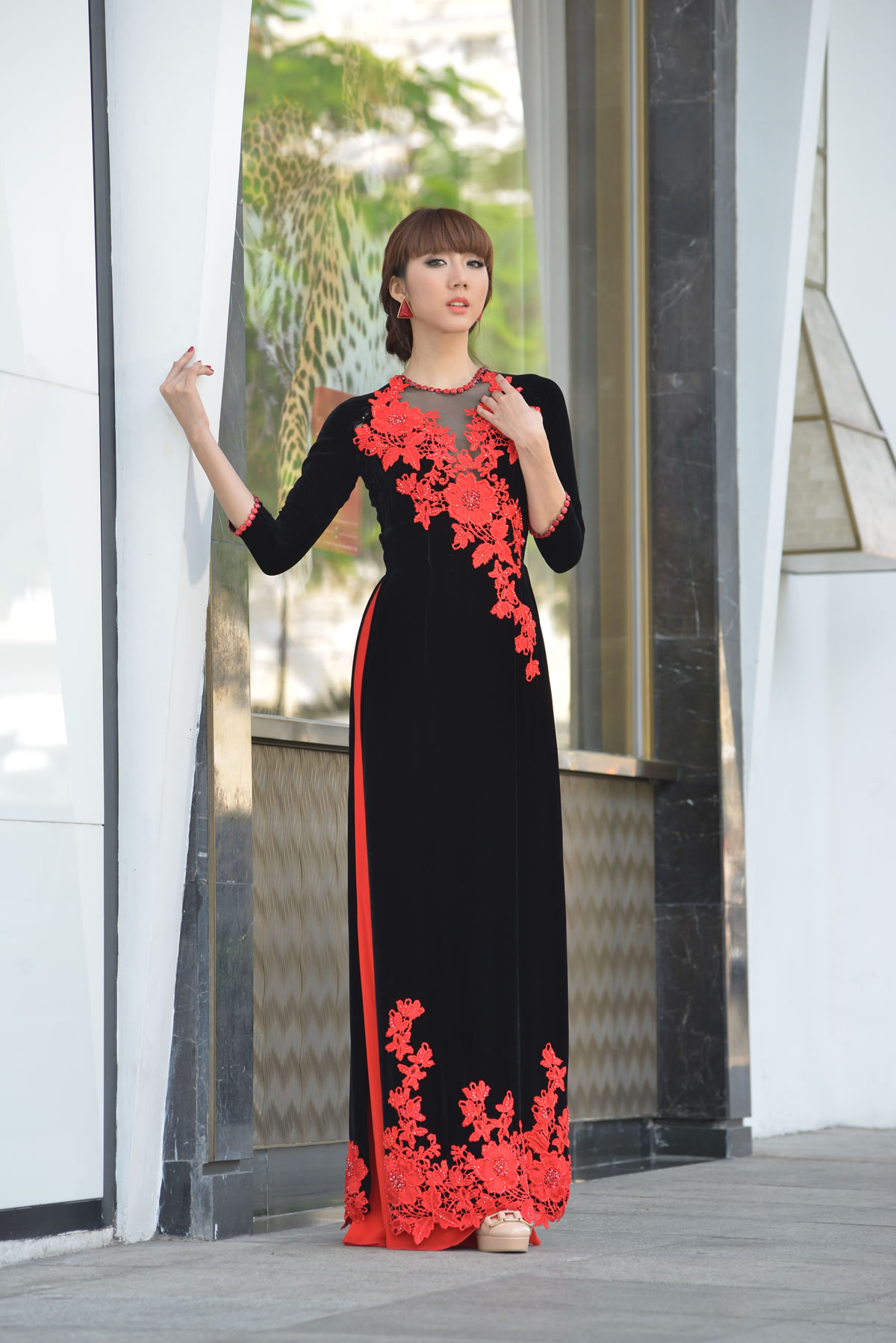 Blue Wedding Ao Dai Modern Ao Dai  Black