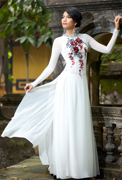 Wedding dresses  vietnam : Modern ao dai white mw